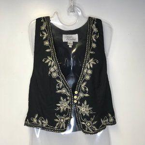 Sarah Elizabeth womens 14 black vest embroidery